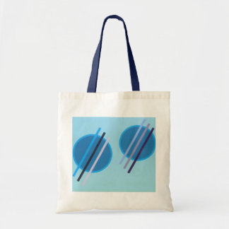 Blue circles and lines tote bag