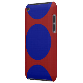 Blue Circles on Red Barely There iPod Case
