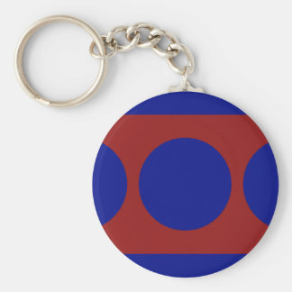 Blue Circles on Red Basic Round Button Keychain
