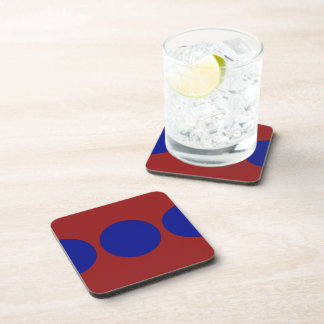 Blue Circles on Red Beverage Coasters