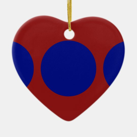 Blue Circles on Red Ceramic Ornament