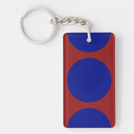 Blue Circles on Red Keychain
