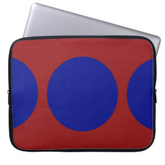 Blue Circles on Red Laptop Sleeves