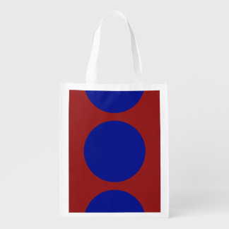 Blue Circles on Red Market Tote