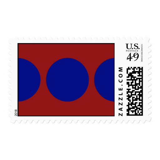 Blue Circles on Red – Medium Postage Stamp