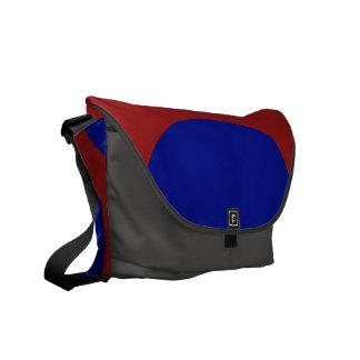 Blue Circles on Red Messenger Bag