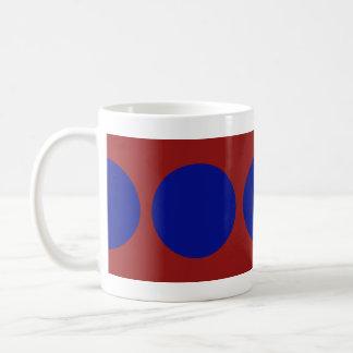 Blue Circles on Red Mugs