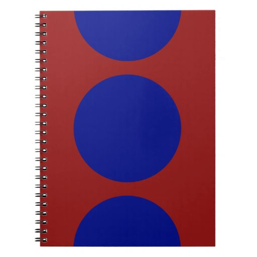 Blue Circles on Red Notebook