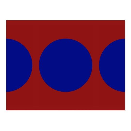 Blue Circles on Red Postcard