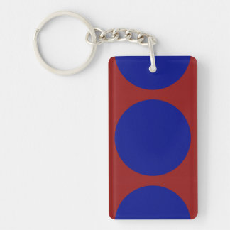 Blue Circles on Red Rectangle Acrylic Keychain