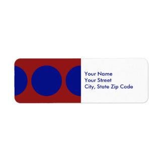 Blue Circles on Red return address label