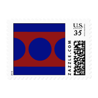 Blue Circles on Red – Small Postage