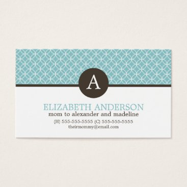 heartlocked Blue Circles Pattern Monogram Profile Cards