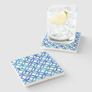 Blue Circles Pattern Stone Coaster
