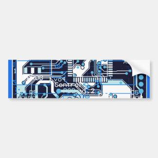 Blue Circuit Board Car Bumper Sticker