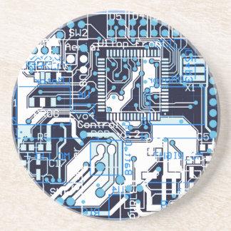 Blue Circuit Board Beverage Coaster