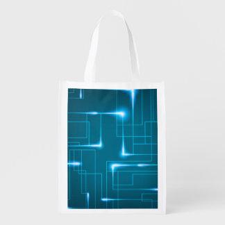 Blue circuit board design market totes