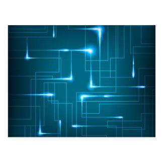 Blue circuit board design postcard
