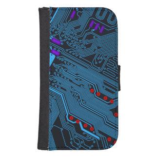 Blue Circuit Board Galaxy S4 Wallet Case