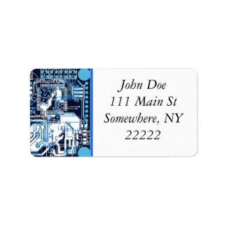 Blue Circuit Board Label