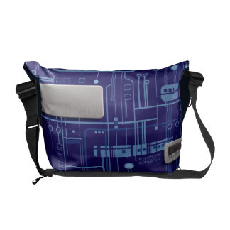 Blue Circuit Board Courier Bag