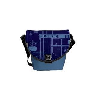 Blue Circuit Board Messenger Bags