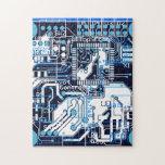 Blue Circuit Board Puzzle