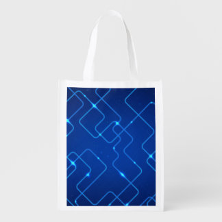 Blue circuit board reusable grocery bags