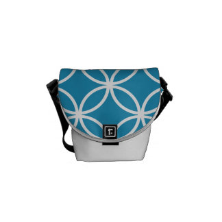 Blue Circular Pattern Courier Bag