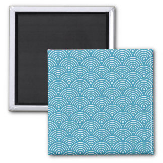 Blue circular wave pattern 2 inch square magnet