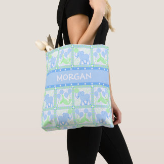 Blue Circus | Baby Boy Elephant For New Mom Tote Bag