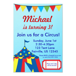 Blue Circus Carnival Big Top Birthday Party Card