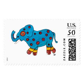 Blue Circus Star Elephant Stamp
