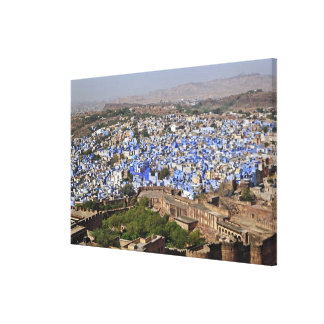 Blue City viewed from Mehrangarh Fort / Jodhpur, Stretched Canvas Print