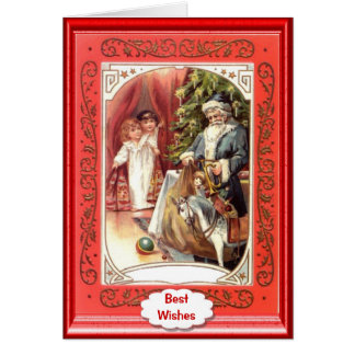 Blue clad santa and 2 little girls card