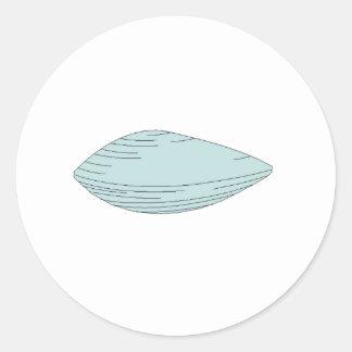 Blue Clam Round Sticker