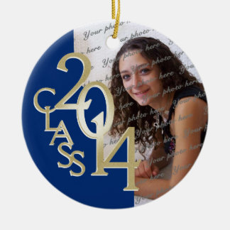 Blue Class 2014 Graduation Photo Ceramic Ornament