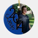 Blue Class 2014 Graduation Photo Christmas Ornaments