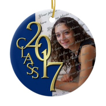 Christmas Themed Blue Class 2017 Graduation Photo Ceramic Ornament