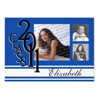Blue Class of 2011 Graduation Tri Photo Card