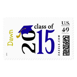 Blue Class Of 2015 Graduation Stamps