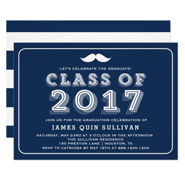 Blue Class of 2017 Retro Typography Graduation Card