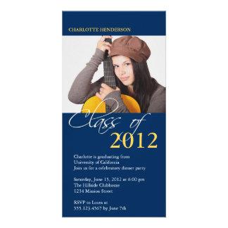 Blue class of graduation photo announcement card photo card