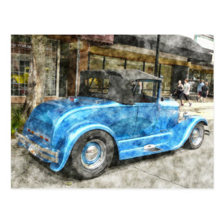 Blue Classic Car Convertible Top Downtown Painted Postcard