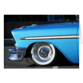 Blue classic car notecard card