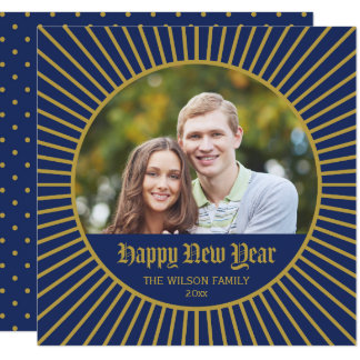Blue Classic Decorative Happy New Year Photo Card