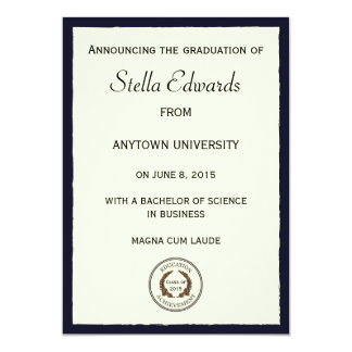 Blue Classic Graduation Announcement