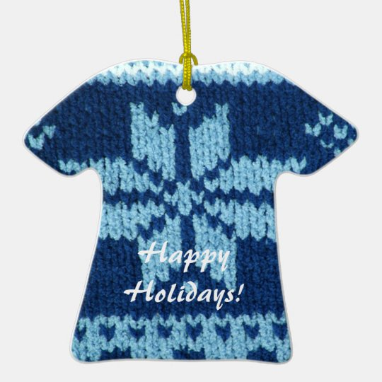 Blue classic knit star pattern look ceramic ornament