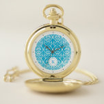 Blue Classical patterns Pocket Watch