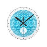 Blue Classical patterns Round Clock